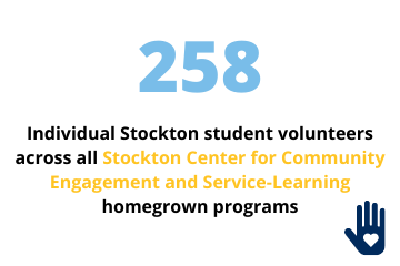 258 individual Stockton student volunteers