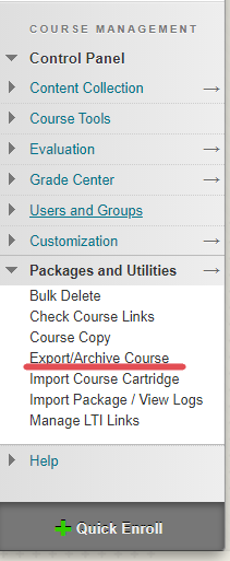 "A screenshot of a Blackboard course, with the ""export/archive course"" link highlighted within the ""Packages and Utilities"" menu."
