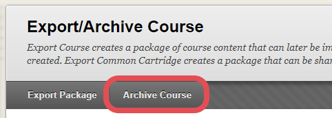 A screenshot of Blackboard's Export/Archive Course page, with the Archive Course button highlighted.
