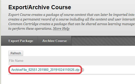 A screenshot of the Export/Archive course page in Blackboard, highlighting the link to a recently created course archive package.
