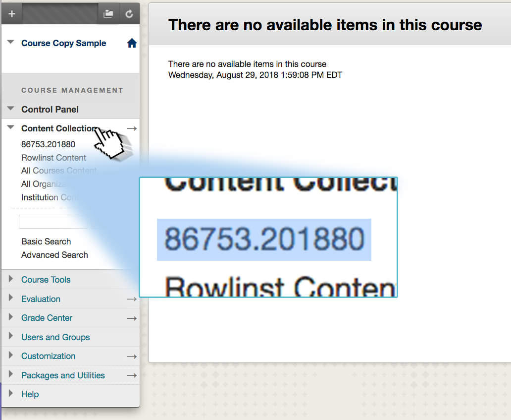 Screenshot depicting the location of a course ID to be copied.