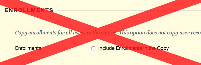 "Screenshot depicting the ""include enrollments"" option with a large red X over it."