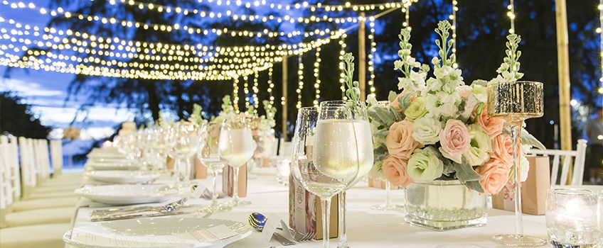 Intricate table setting at a wedding event