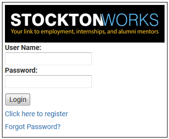 Stockton Works Login Box