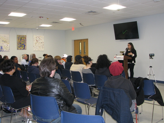 "Alexandra Zapruder, author of ""Salvaged Pages: Young Writers' Diaries of the Holocaust"", speaks to students, faculty, and staff at Atlantic Cape Community College. The event was co-sponsored by The Sara and Sam Schoffer Holocaust Resource Center."