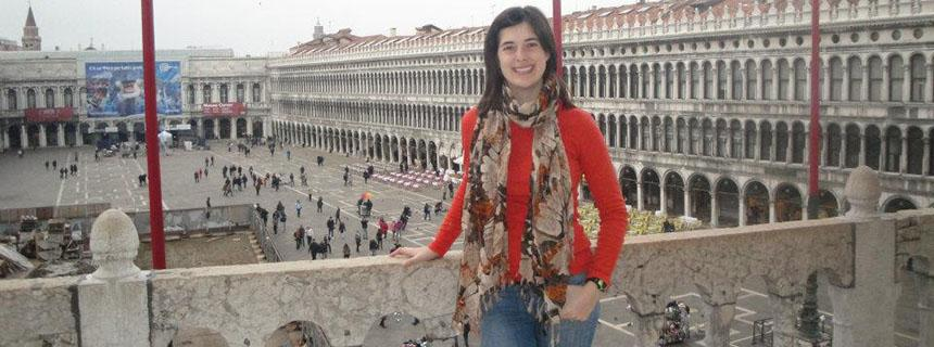 Katie Baker, Stockton Salutatorian May 2013, on a trip to Venice, Italy during  her study abroad year in Paris. .