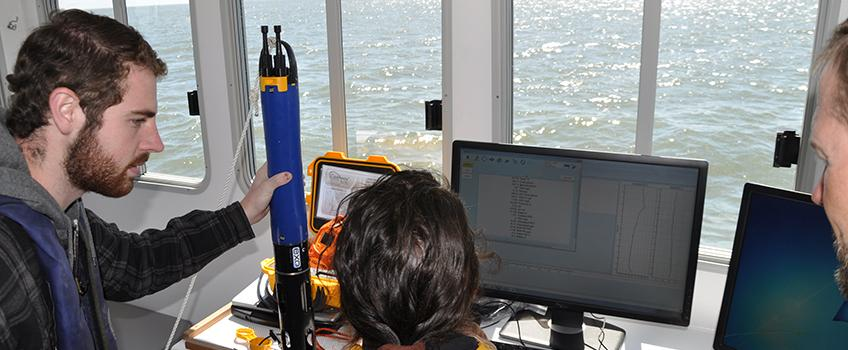 Marine Science students utilize the latest in water monitoring instruments