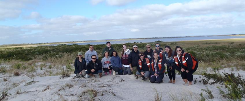 Marine geology students explore an uninhabited barrier island