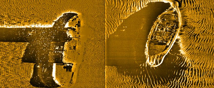 Side scan sonar images of the Pat McAlister shipwreck, pre and post-Sandy