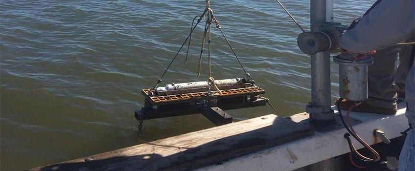 Deployment of Nortek Aquadopp (current profiler and wave system)