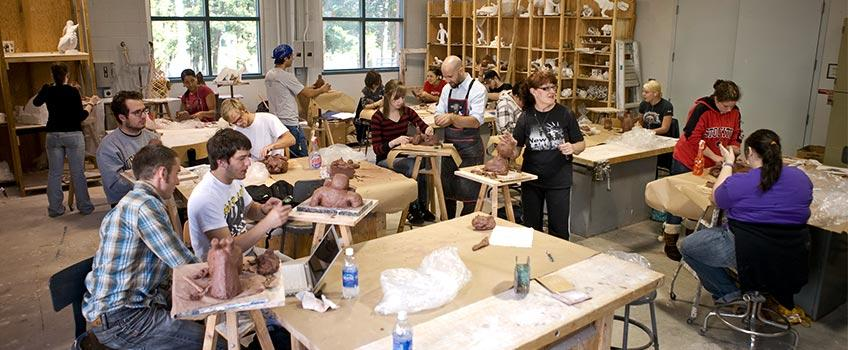 Student in a sculpting class