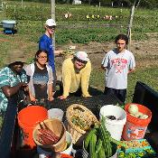 Summer Farm Crew shows off their haul before holding the campus farm event