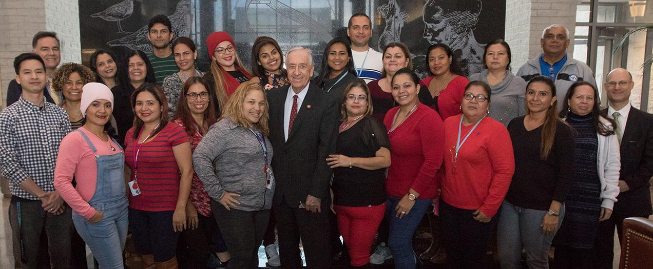 Former Ambassador William J. Hughes meets with teachers from Panama