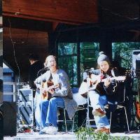 A guitar duo performing at the 2001 Woodstockton.