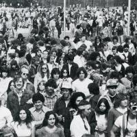A student crowd awaits performers at the 1981 Spring Bash.