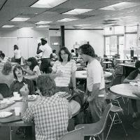 Meeting up for lunch in the G Wing Cafeteria.