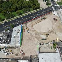 Aerial view from Pacific Ave
