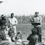 Lecture in front of Lake Fred