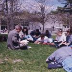 A lecture outdoors