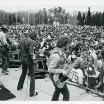 Band rocking out in the 1980s