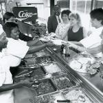 Students getting lunch in G Wing cafeteria