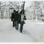 Students walking to class in the winter of 1978
