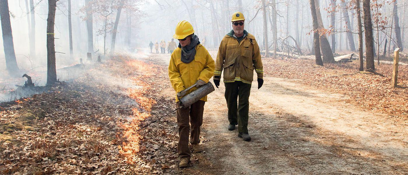 Stockton students collect data during controlled burn