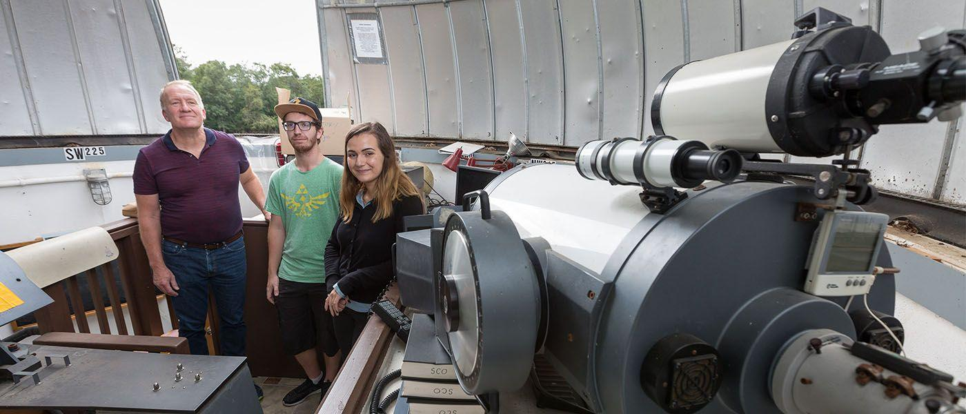 Physics students refurbishing observatory