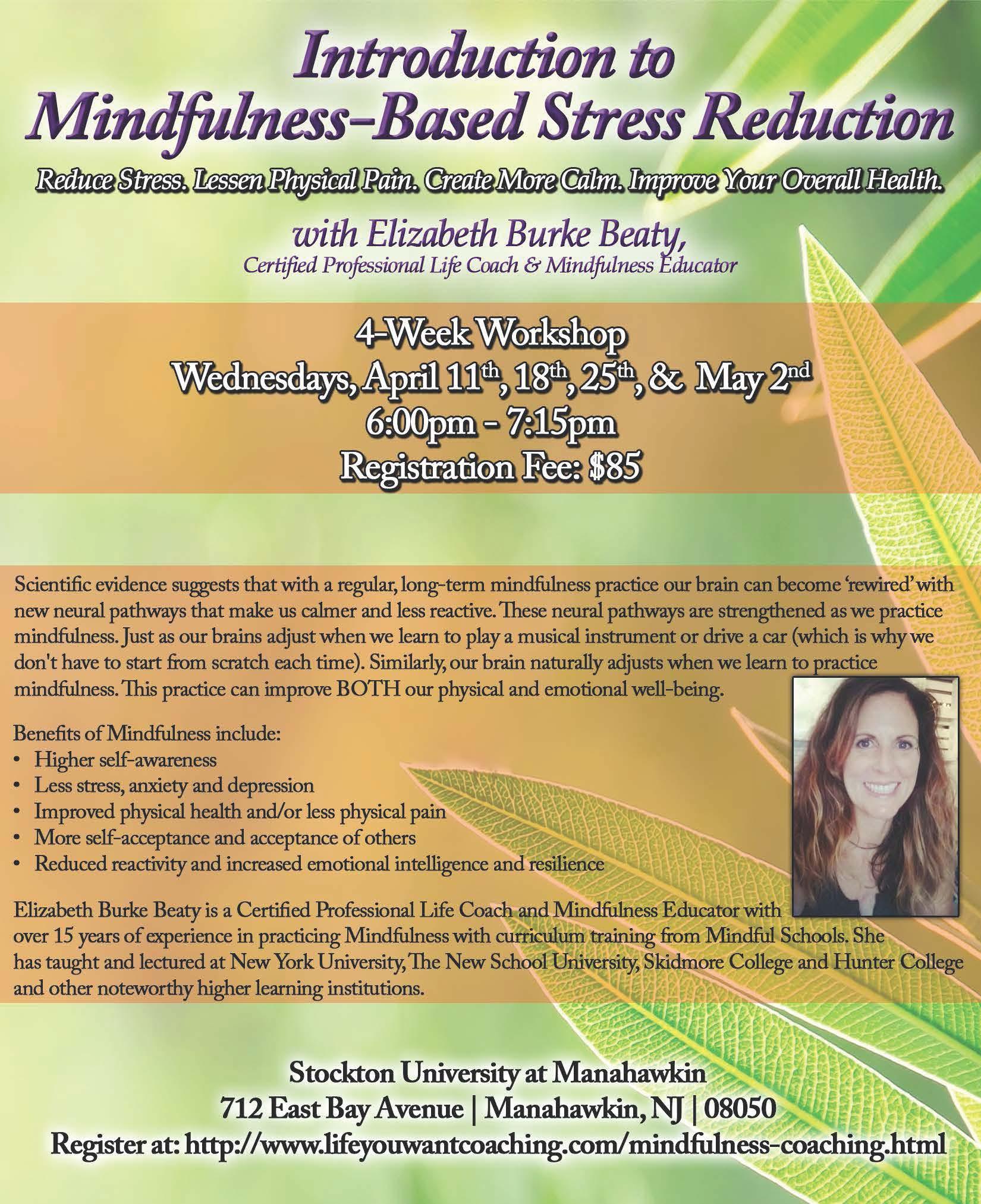 Mindfulness Based Stress Reduction Events Stockton University