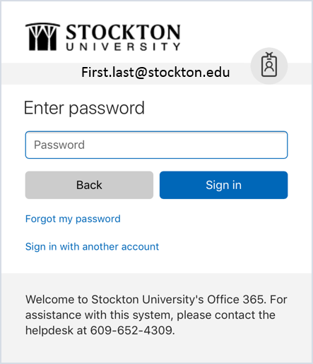 Enter your Stockton Password