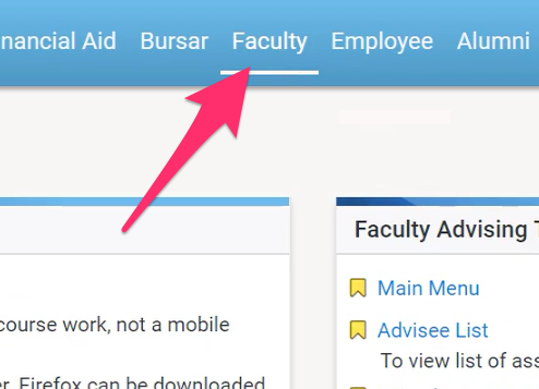 A screenshot depicting the faculty tab in the GoStockton Portal