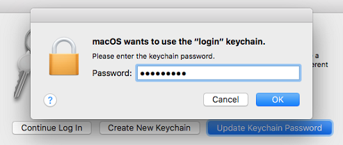 macOS wants to use the login keychain