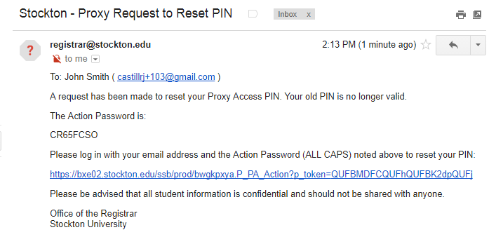 PIN Reset Email