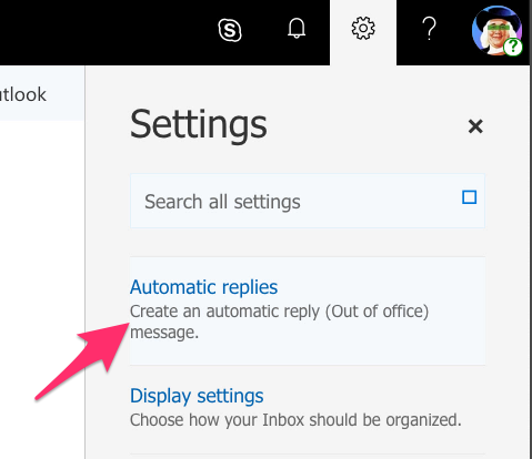 A screenshot of Outlook Web, showing the Automatic Replies option under the Settings menu.