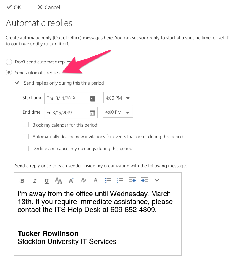 A screenshot of Outlook Web, showing the Automatic Replies setup screen.