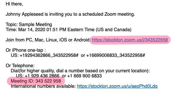 A screenshot of a zoom meeting invite email, with the join link and meeting ID highlighted