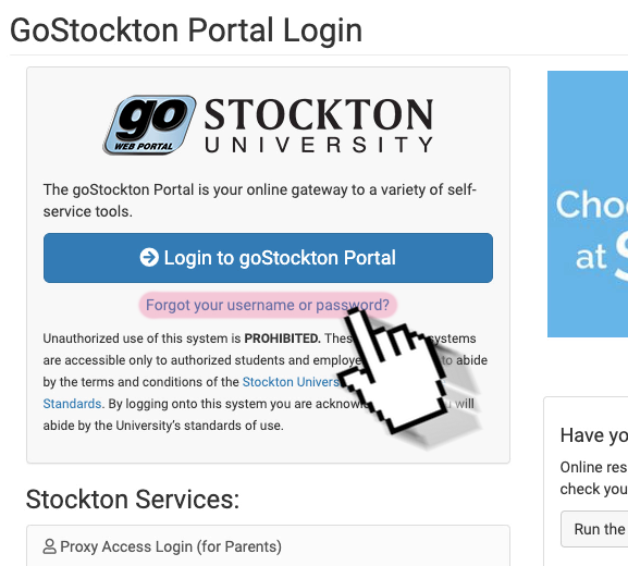"A screenshot of the GoStockton Portal login page, highlighting the ""Forgot your username or password"" link."