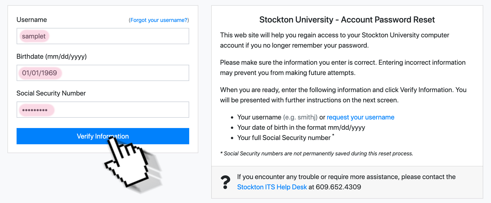 A screenshot of the GoStockton Portal password reset form. It indicates the three fields to fill in for identity verification - username, date of birth, and social security number.