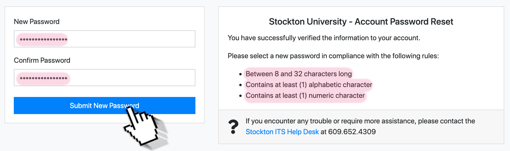 "A screenshot of the GoStockton Portal password reset form. It indicates the two fields ""new password"" and ""confirm password""."