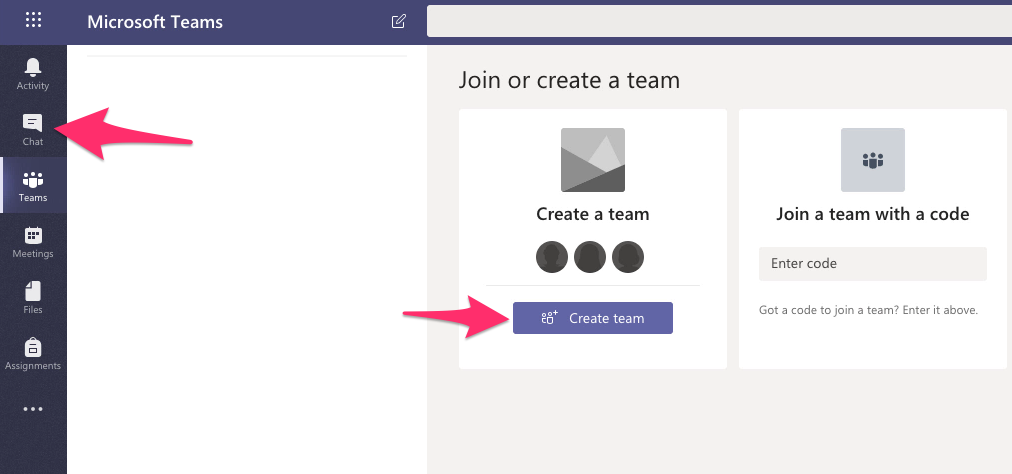A screenshot depicting the Teams pane in Microsoft Teams for the web.