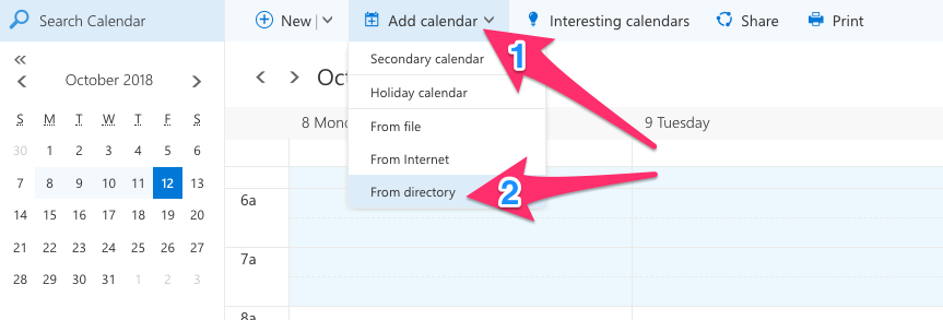 "Screenshot of Outlook Web with an arrow labelled with the number 1 pointing to the ""Add Calendar"" button and an arrow labelled with the number 2 pointing at the ""From Directory"" button"