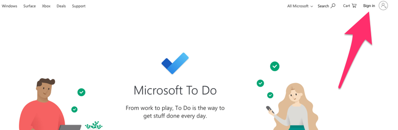 A screenshot of todo.microsoft.com highlighting the Sign In button.