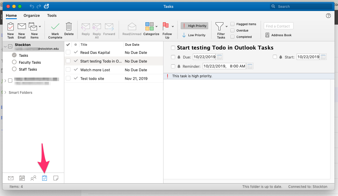 A screenshot of tasks created in Microsoft To Do, displaying within the Tasks pane of Microsoft Outlook.