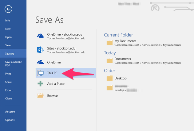 "screenshot displaying the ""this pc"" menu entry in the ""save as"" dialog in Microsoft Word"