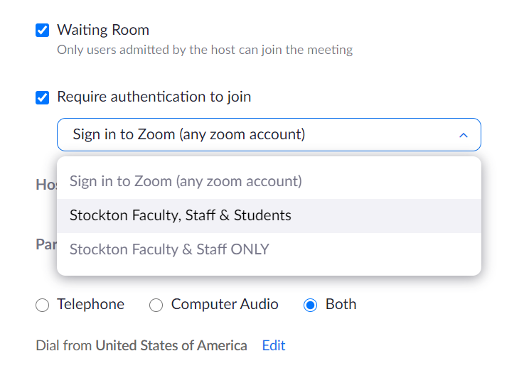 A screenshot of the Zoom interface, showing the Require authentication to join setting and its corresponding drop-down menu.
