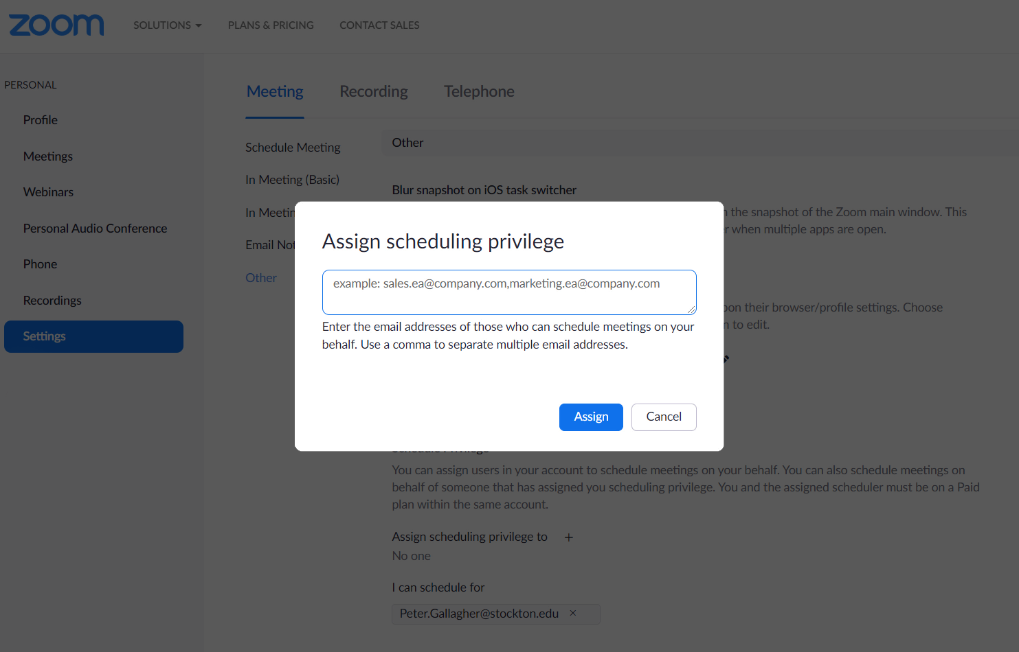 "a screenshot of the zoom ""assign scheduling privileges"" screen."