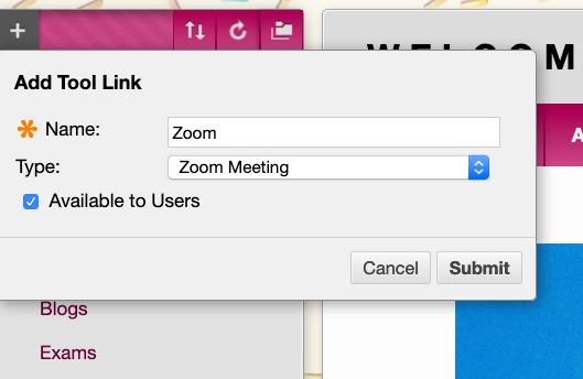 "A screenshot showing the ""Tool Link"" dialog box, with ""Zoom"" in the ""Name"" field and ""Zoom"" selected in the ""type"" drop-down menu."