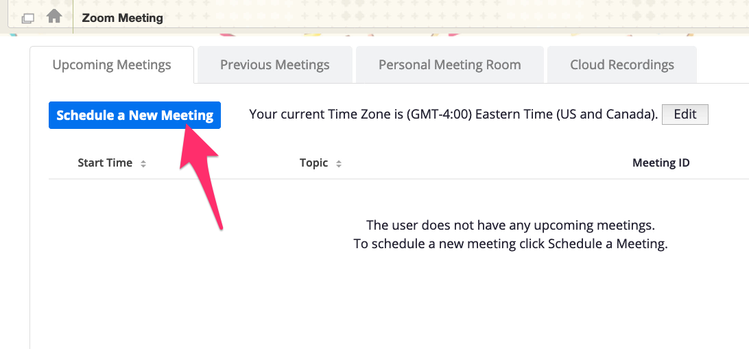 "A screenshot showing the ""Schedule a New Meeting"" button in Zoom."