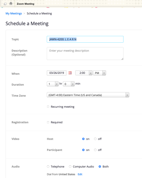 "A screenshot showing the ""Schedule a Meeting"" page in Zoom."