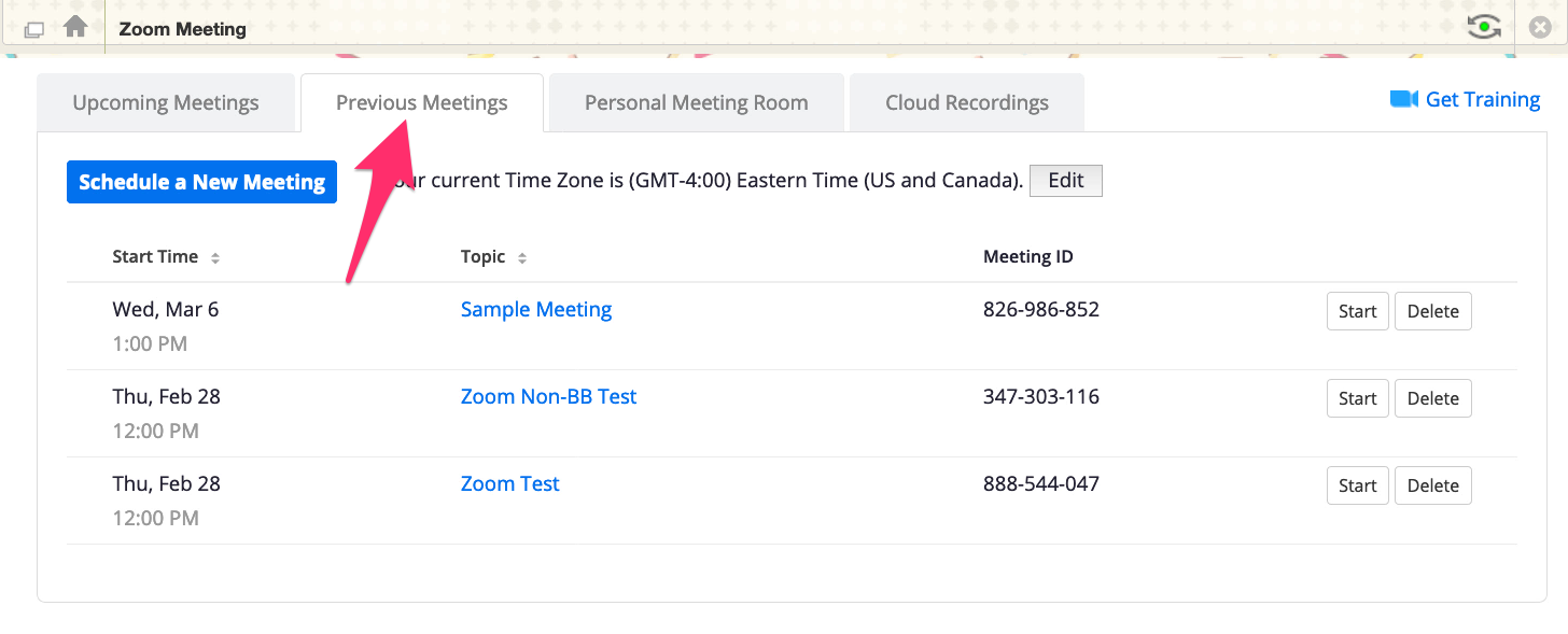 "A screenshot showing the Zoom ""Previous Meetings"" menu, with an arrow pointing to the tab title."